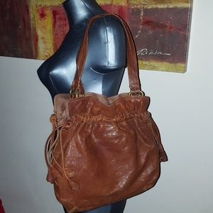 LUCKY Italian lambskin brown leather tulip drawstr